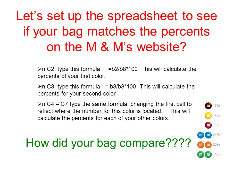 Let's set up the spreadsheet to see if your bag matches the percents on the M & M's website