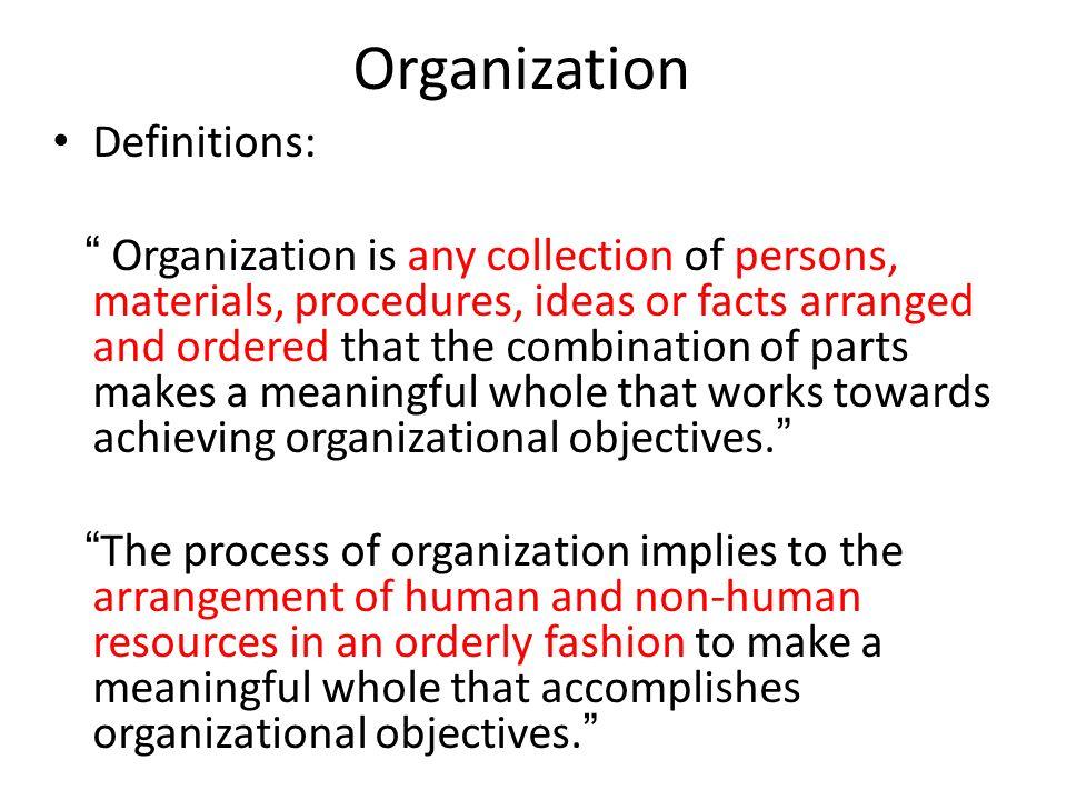 Organization Definitions: