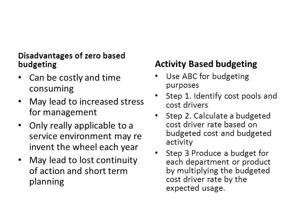 advantages and disadvantages of activity based budgeting Advantages of activity based management this management method has proved its value in this is done by means of activity based costing zero based budgeting (zbb.