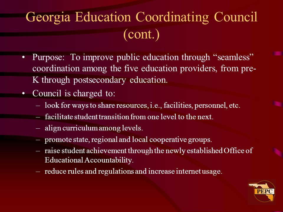 Georgia Education Coordinating Council (cont.)