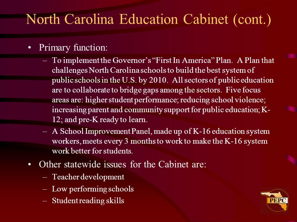 North Carolina Education Cabinet (cont.)