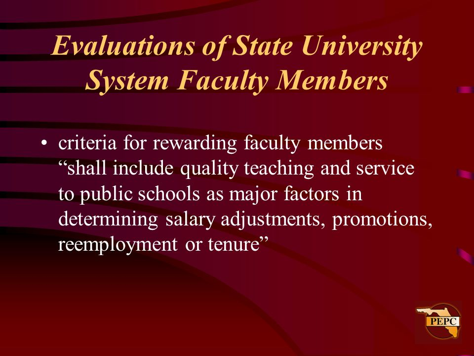Evaluations of State University System Faculty Members