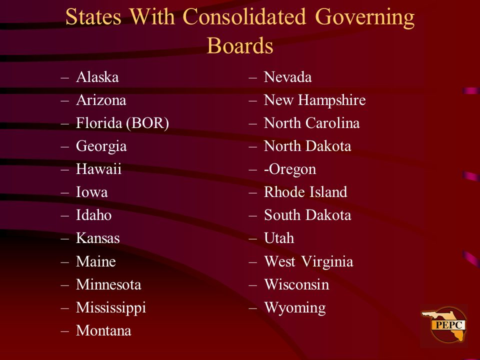 States With Consolidated Governing Boards