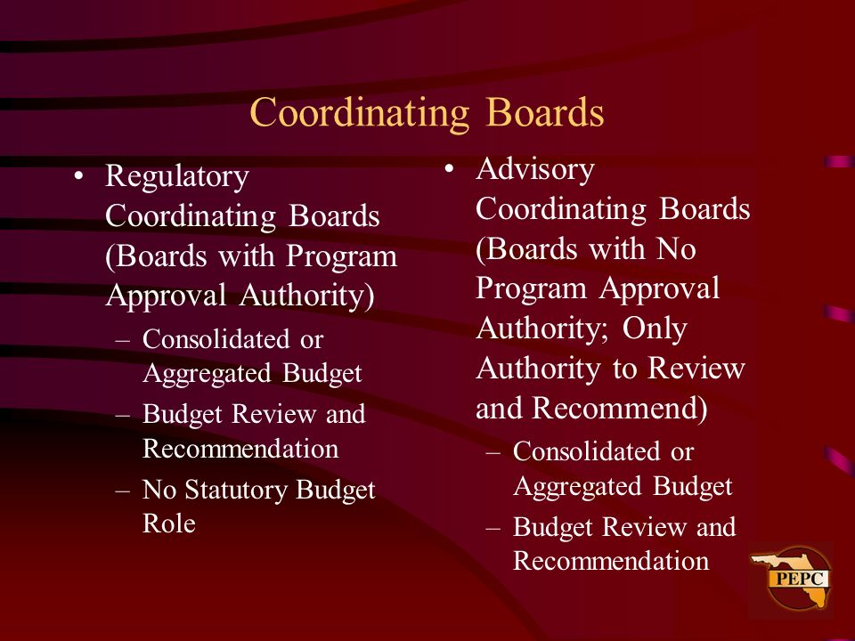 Coordinating Boards Advisory Coordinating Boards (Boards with No Program Approval Authority; Only Authority to Review and Recommend)