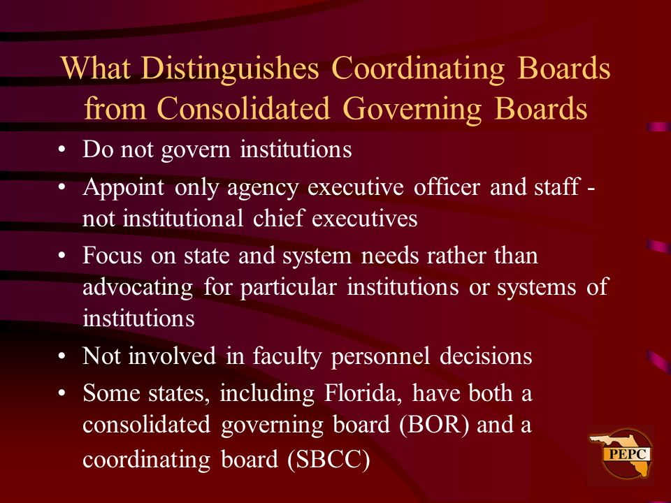 What Distinguishes Coordinating Boards from Consolidated Governing Boards