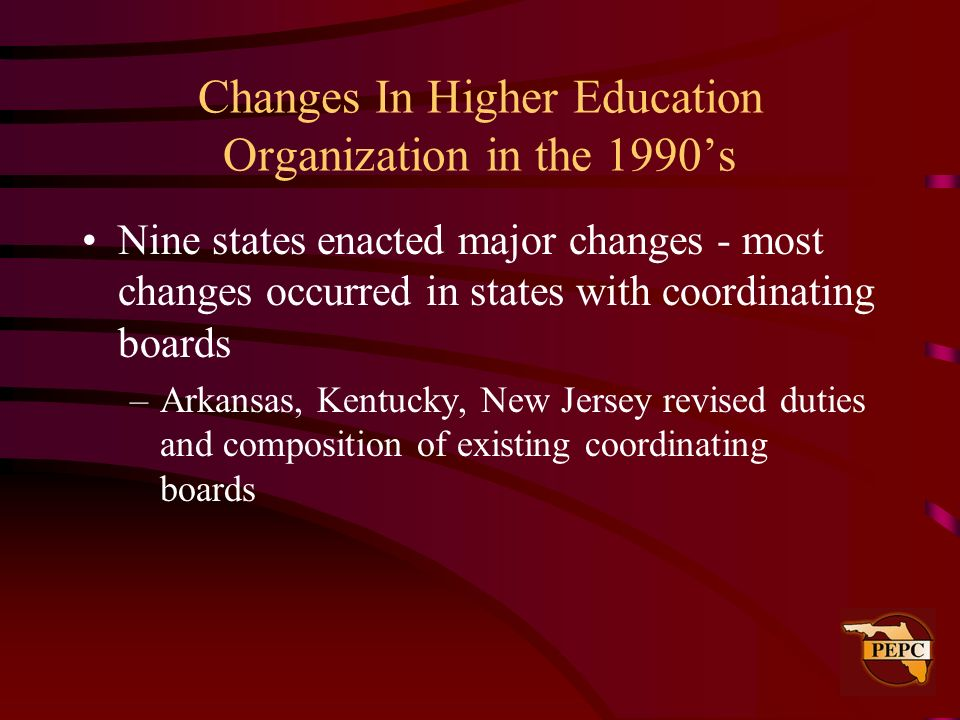 Changes In Higher Education Organization in the 1990's