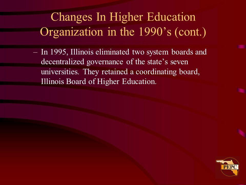 Changes In Higher Education Organization in the 1990's (cont.)