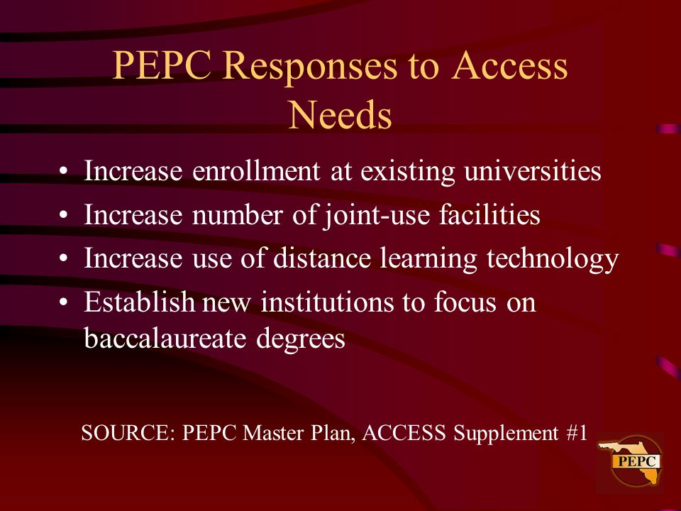 PEPC Responses to Access Needs