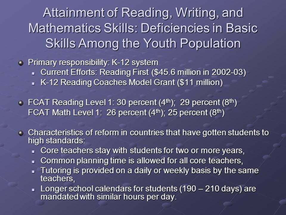 Attainment of Reading, Writing, and Mathematics Skills: Deficiencies in Basic Skills Among the Youth Population