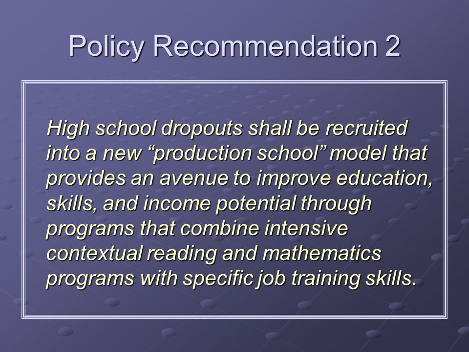 Policy Recommendation 2