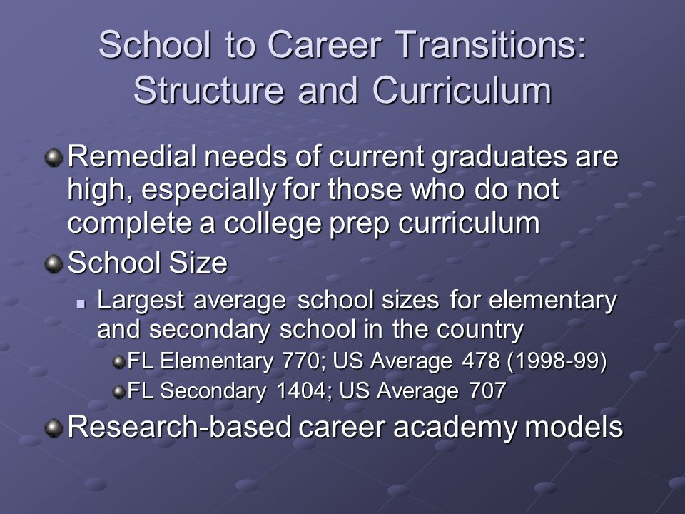 School to Career Transitions: Structure and Curriculum