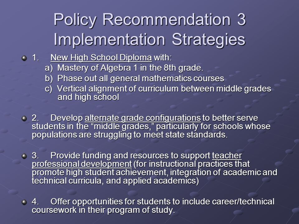 Policy Recommendation 3 Implementation Strategies