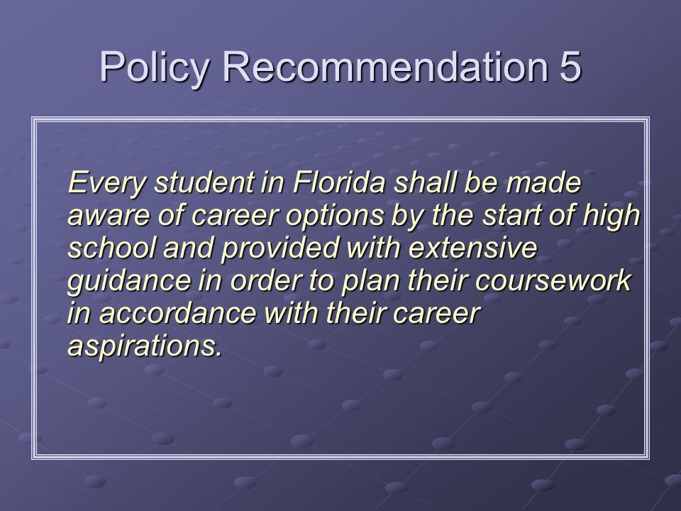 Policy Recommendation 5