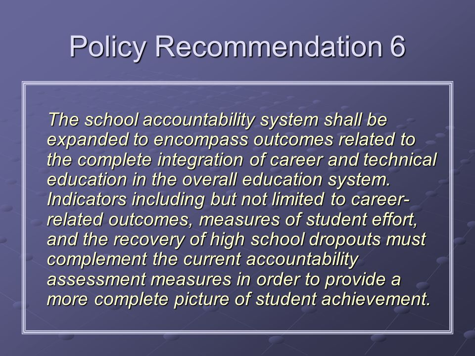 Policy Recommendation 6