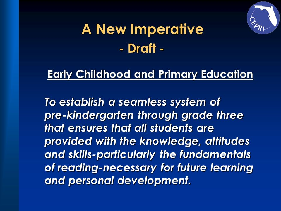 - Draft - Early Childhood and Primary Education