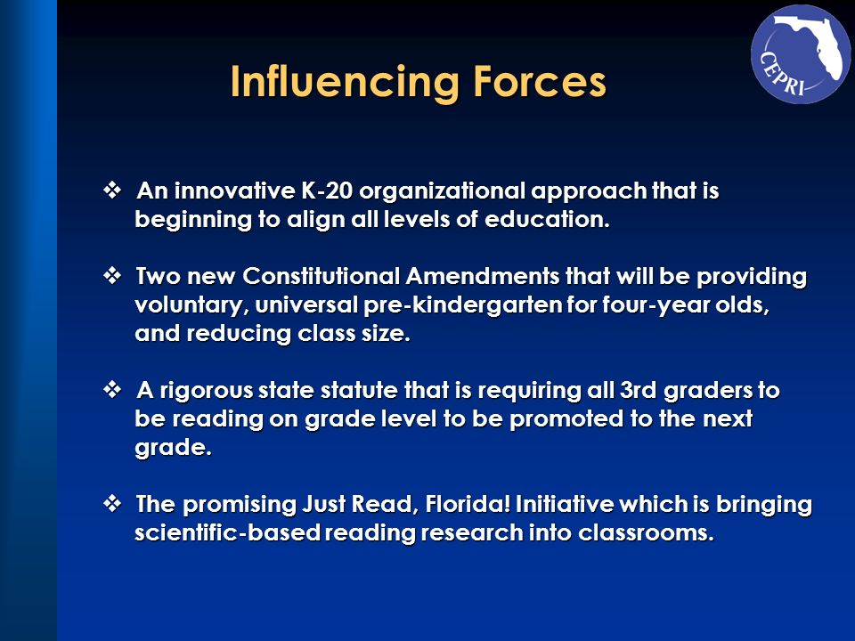 Influencing Forces An innovative K-20 organizational approach that is