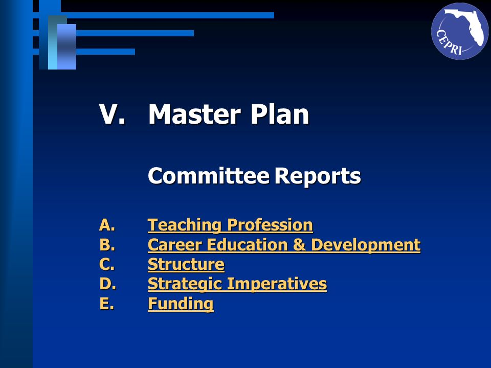 Master Plan Committee Reports Teaching Profession