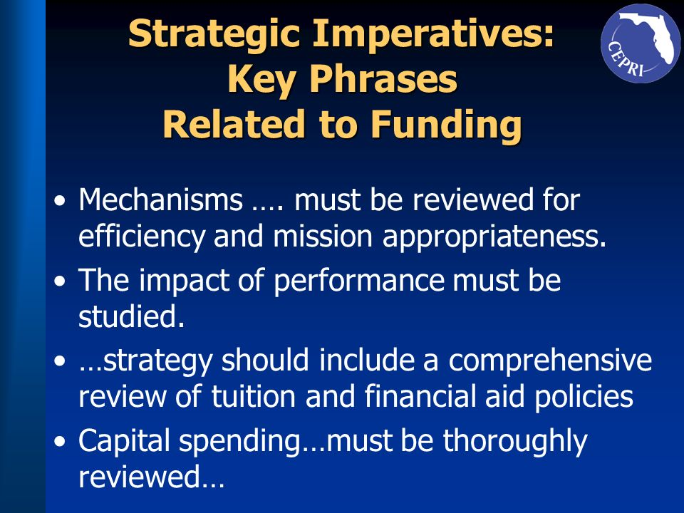 Strategic Imperatives: Key Phrases Related to Funding