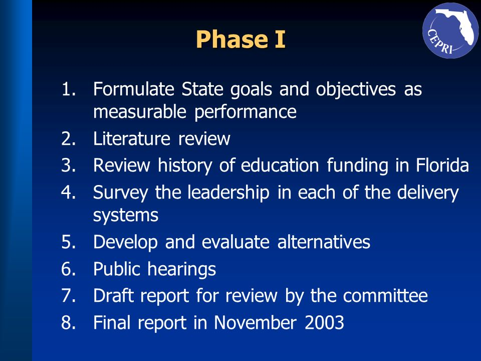 Phase I Formulate State goals and objectives as measurable performance