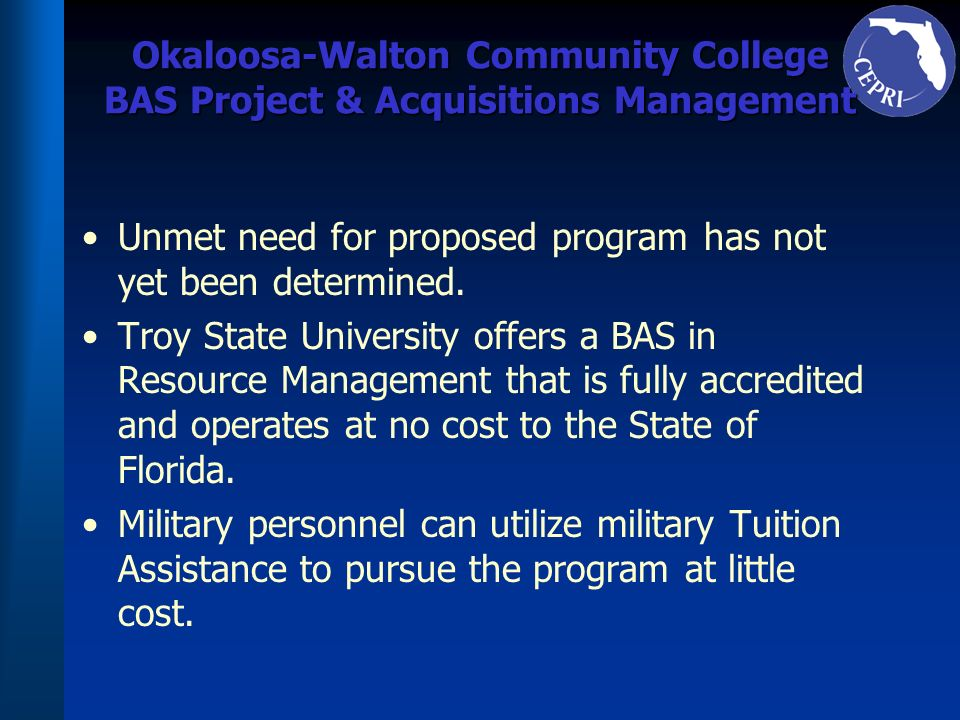 Okaloosa-Walton Community College BAS Project & Acquisitions Management