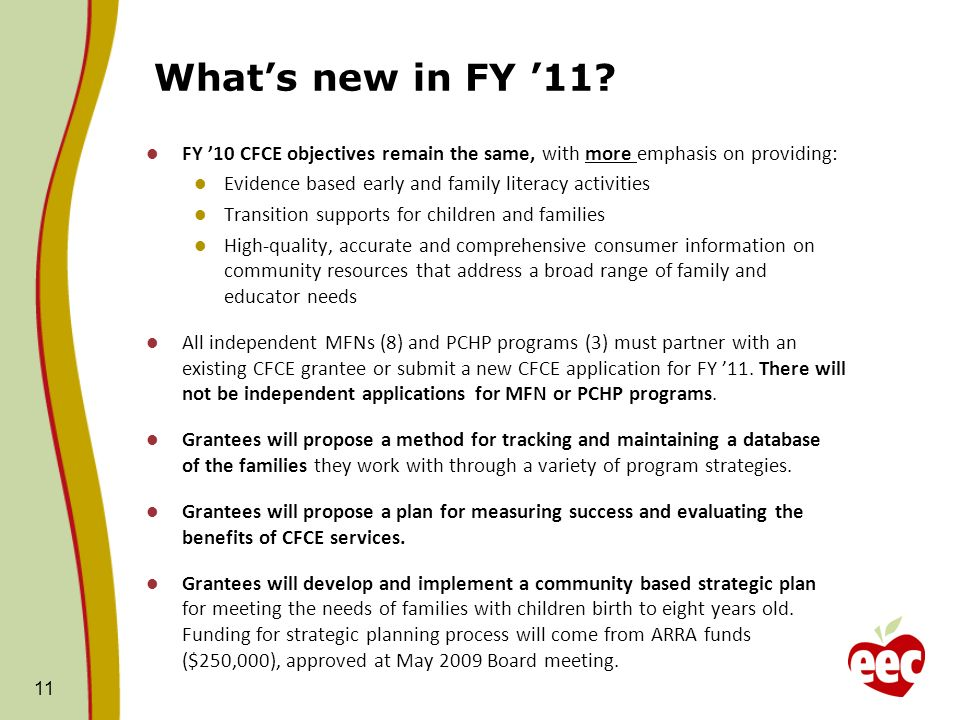 What's new in FY '11 FY '10 CFCE objectives remain the same, with more emphasis on providing: Evidence based early and family literacy activities.