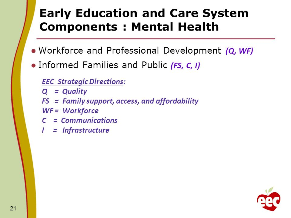 Early Education and Care System Components : Mental Health