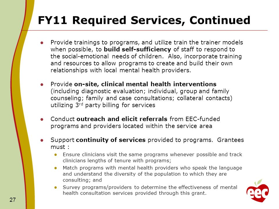 FY11 Required Services, Continued