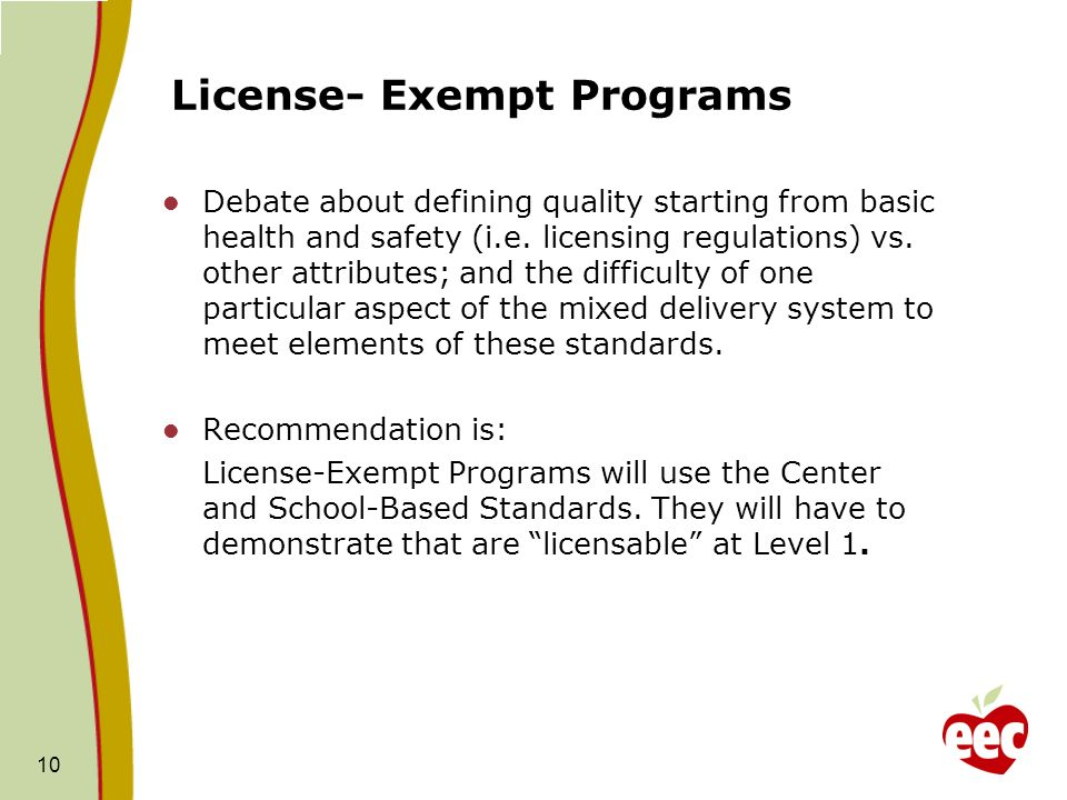 License- Exempt Programs