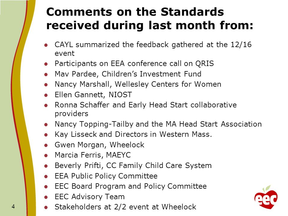 Comments on the Standards received during last month from: