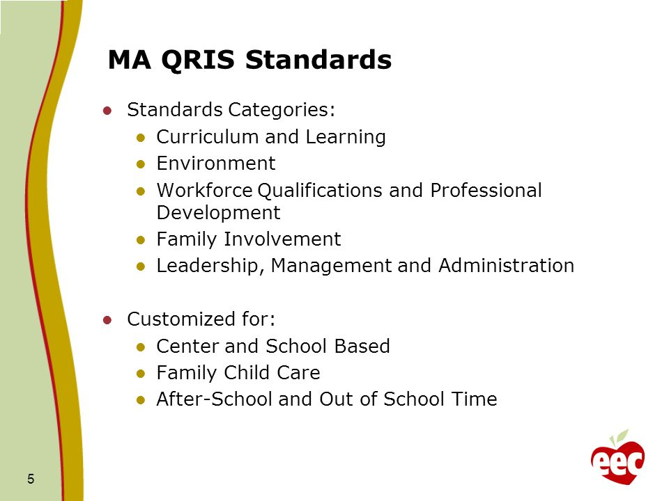 MA QRIS Standards Standards Categories: Curriculum and Learning