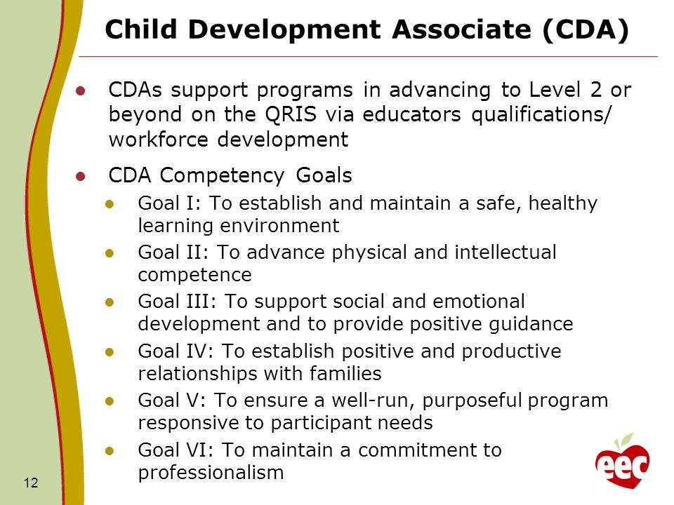 cda competency goal 2 Competency goal 1 safe competency goal 1 to establish and maintain a safe, healthy learning environment fa1: safe goals: • to provide an environment that is positive, nurturing, and encourages children to develop their own safe and healthy habits.