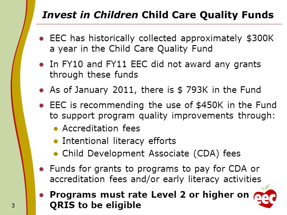Invest in Children Child Care Quality Funds