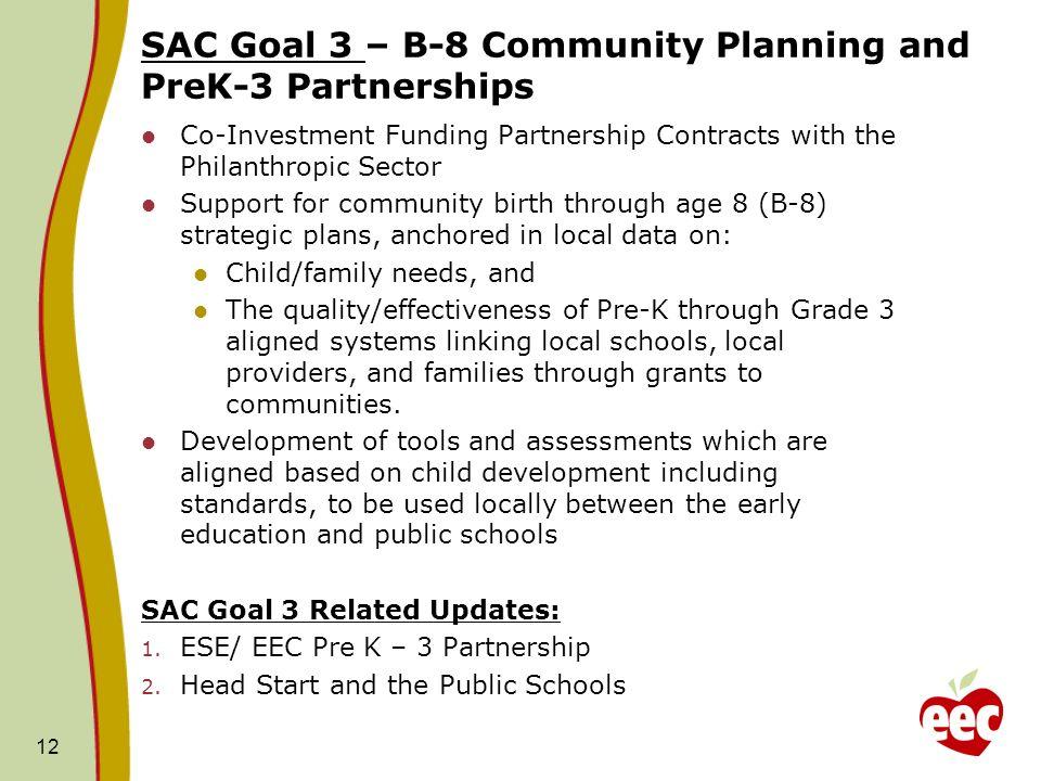 SAC Goal 3 – B-8 Community Planning and PreK-3 Partnerships