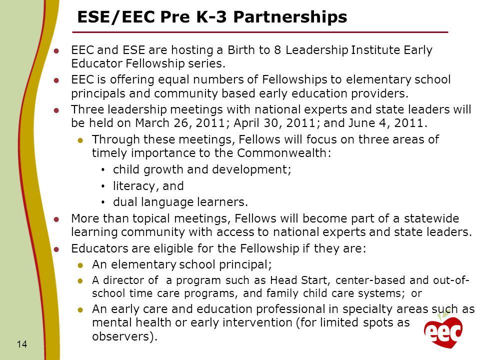 ESE/EEC Pre K-3 Partnerships