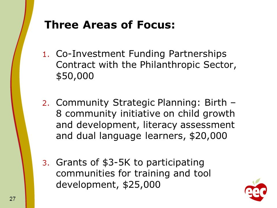 Three Areas of Focus:Co-Investment Funding Partnerships Contract with the Philanthropic Sector, $50,000.