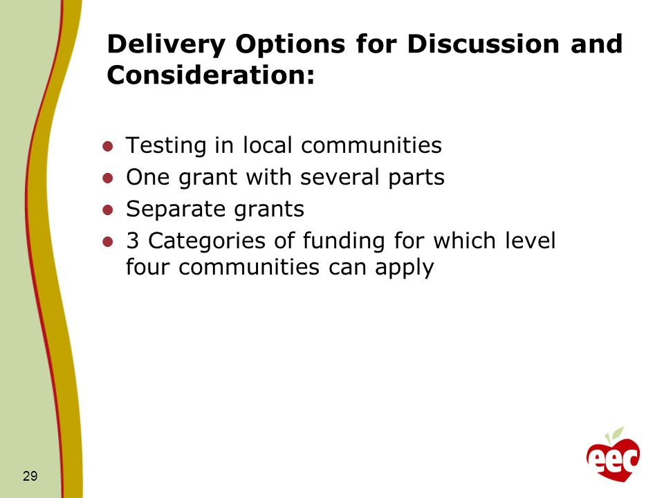 Delivery Options for Discussion and Consideration: