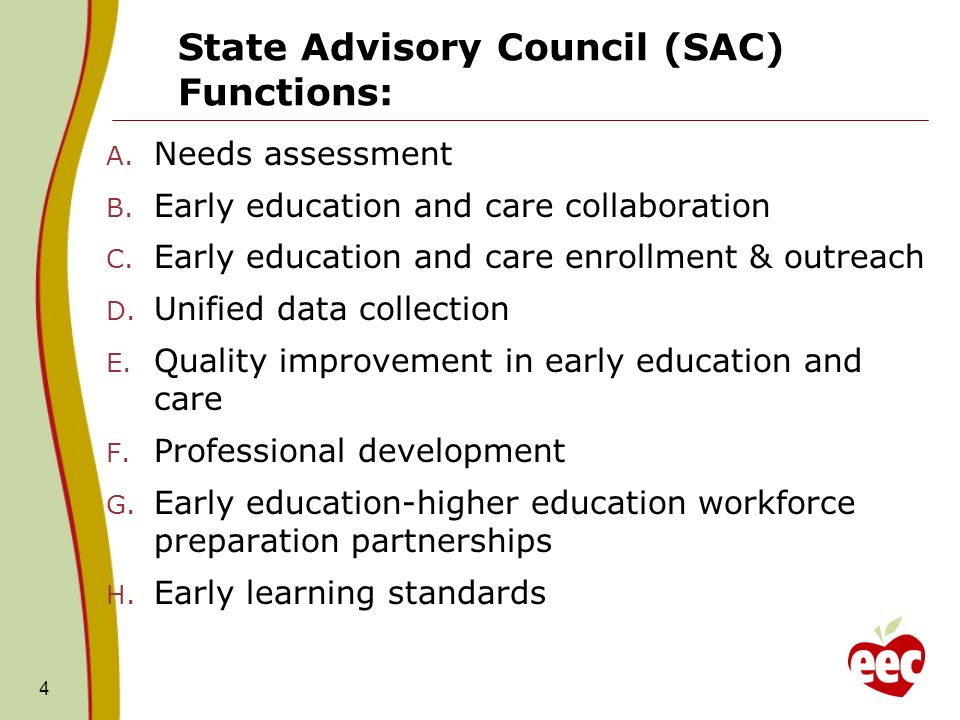 State Advisory Council (SAC) Functions: