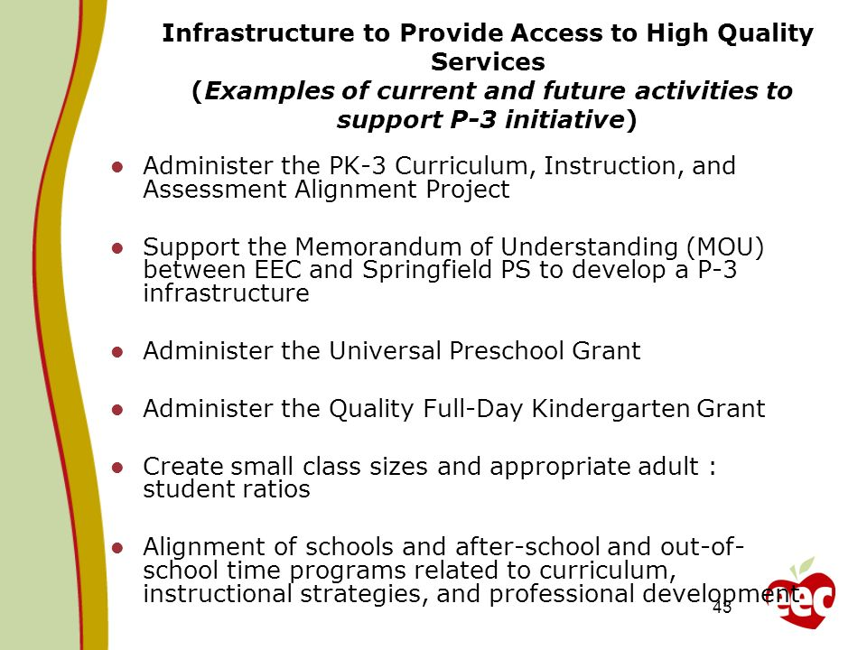 Infrastructure to Provide Access to High Quality Services (Examples of current and future activities to support P-3 initiative)