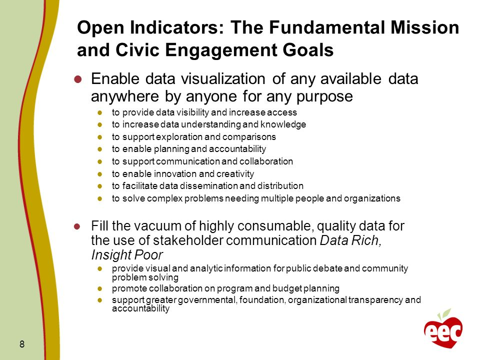 Open Indicators: The Fundamental Mission and Civic Engagement Goals