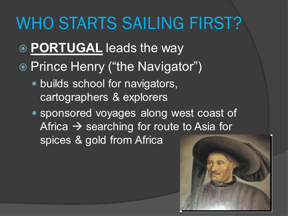 WHO STARTS SAILING FIRST
