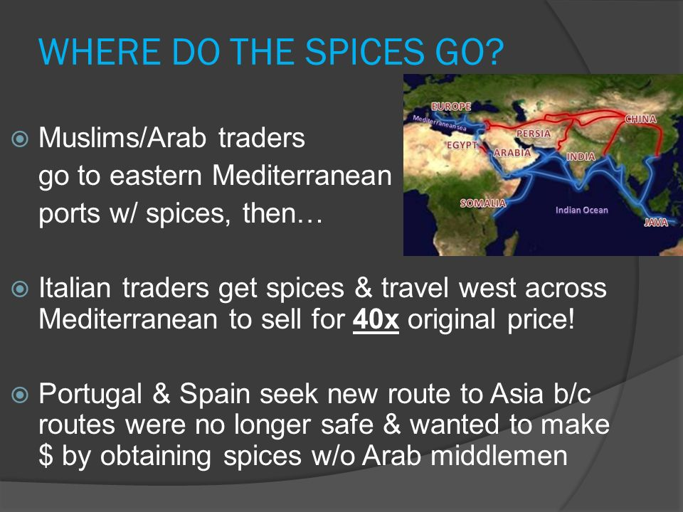 WHERE DO THE SPICES GO Muslims/Arab traders