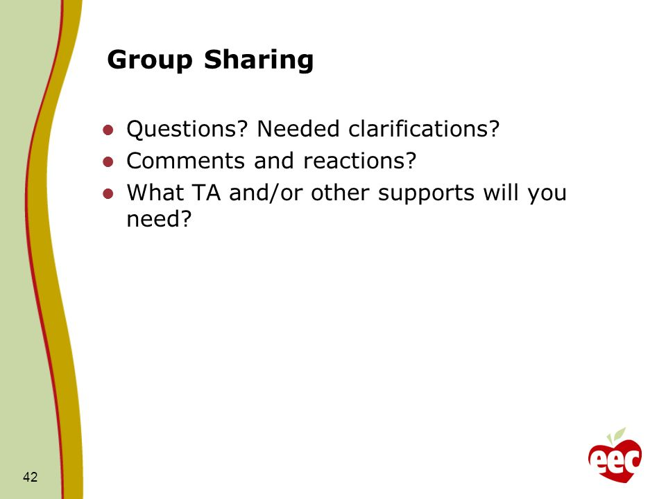 Group Sharing Questions Needed clarifications