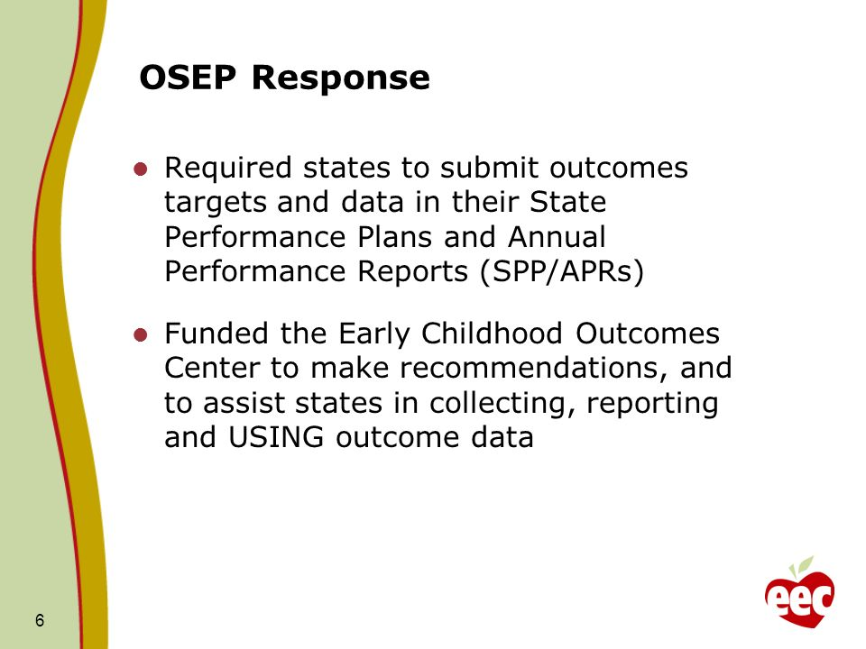 OSEP Response Required states to submit outcomes targets and data in their State Performance Plans and Annual Performance Reports (SPP/APRs)