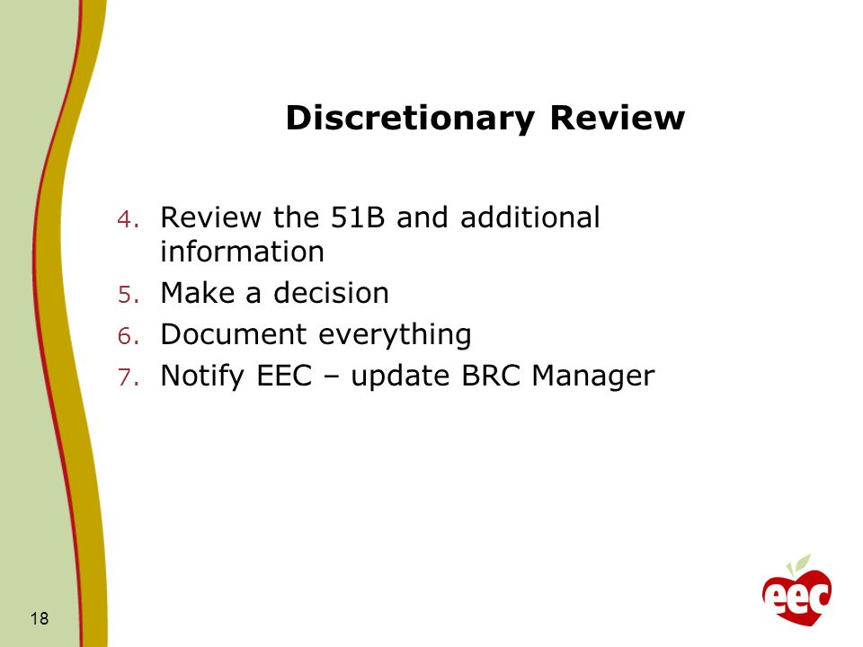 Discretionary Review Review the 51B and additional information