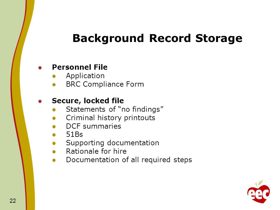 Background Record Storage