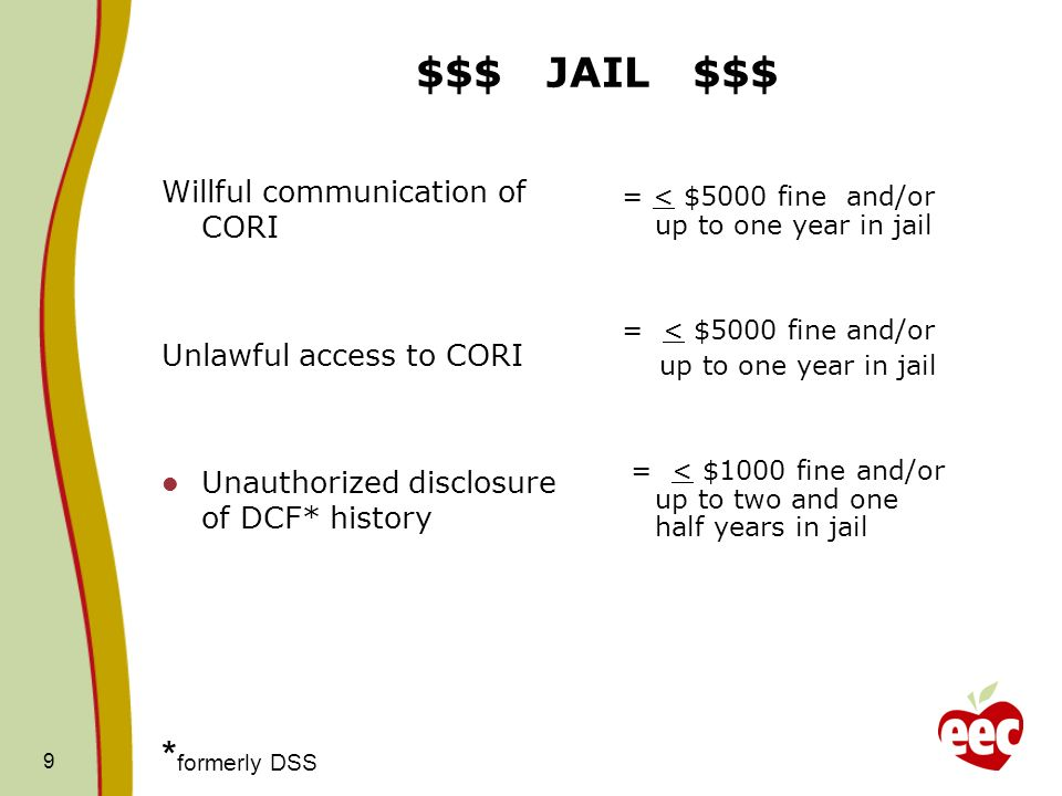 $$$ JAIL $$$ *formerly DSS Willful communication of CORI