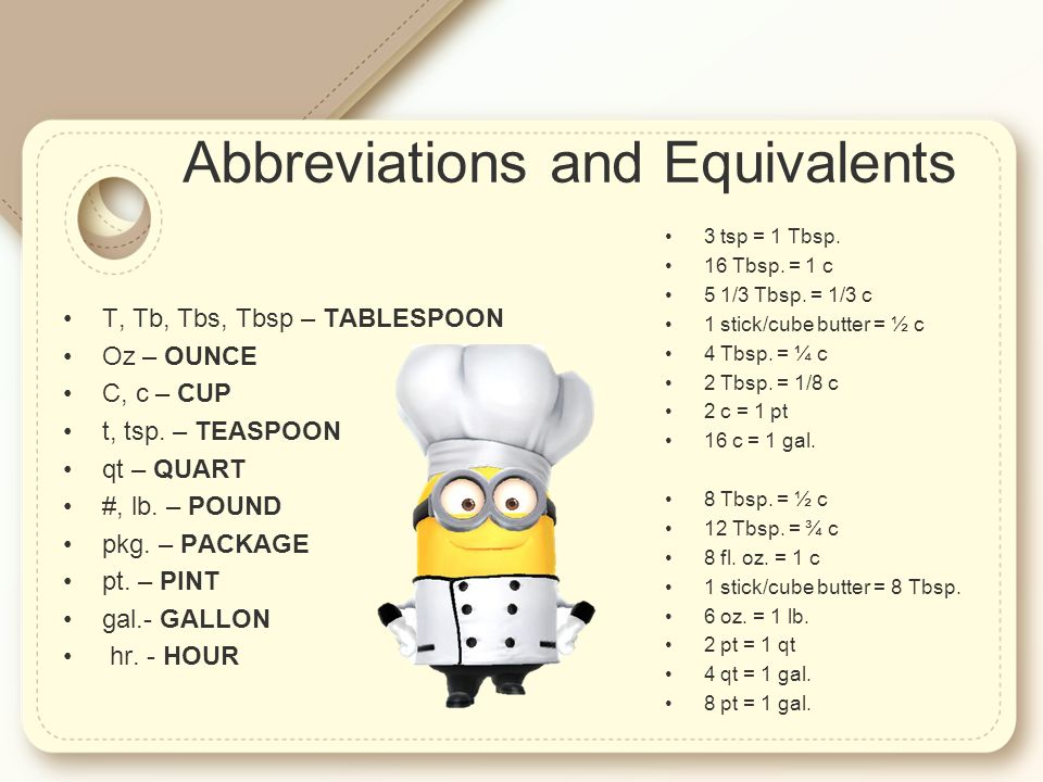 Measurements and equivalents ppt video online download for 1 tablespoon vs teaspoon