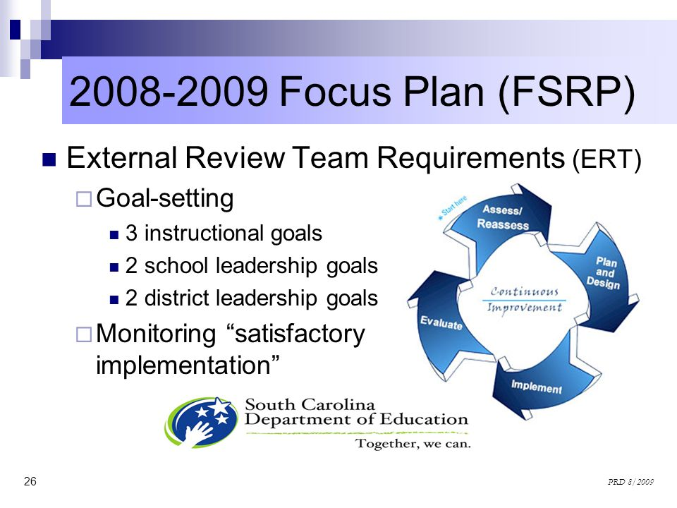 2008-2009 Focus Plan (FSRP) External Review Team Requirements (ERT)