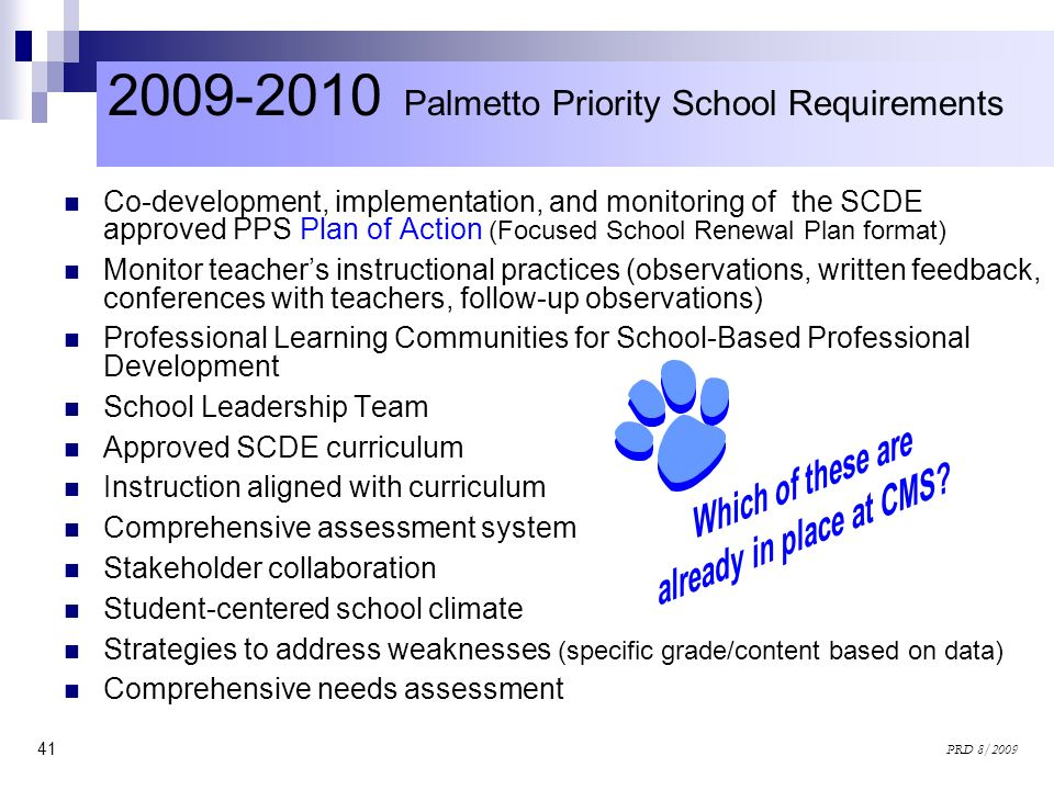2009-2010 Palmetto Priority School Requirements