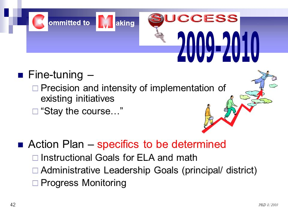 C M 2009-2010 Fine-tuning – Action Plan – specifics to be determined